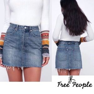FREE PEOPLE  Denim Skirt  Raw Edge NWT